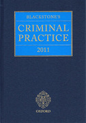 Cover of Blackstone's Criminal Practice 2011