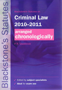 Cover of Blackstone's Statutes on Criminal Law 2010-2011 Arranged Chronologically