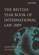 Cover of The British Year Book of International Law 2009: Volume 80