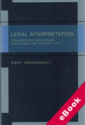 Cover of Legal Interpretation: Broader Perspectives and Private Texts (eBook)