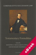 Cover of Comparative Succession Law Volume I Testamentary Formalities: (eBook)