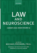 Cover of Current Legal Issues Volume 13: Law and Neuroscience