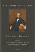Cover of Comparative Succession Law Volume I Testamentary Formalities: