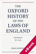 Cover of The Oxford History of the Laws of England Volume 2, 871-1216 (eBook)