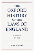 Cover of The Oxford History of the Laws of England Volume 2, 871-1216