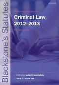 Cover of Blackstone's Statutes on Criminal Law 2012 - 2013