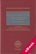 Cover of Company Directors: Duties, Liabilities and Remedies (eBook)