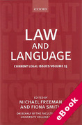 Cover of Current Legal Issues Volume 15: Law and Language (eBook)
