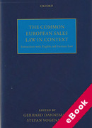 Cover of The Common European Sales Law in Context: Interactions with English and German Law (eBook)