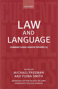 Cover of Current Legal Issues Volume 15: Law and Language