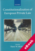 Cover of Constitutionalization of European Private Law (eBook)