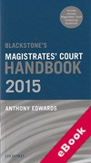Cover of Blackstone's Magistrates' Court Handbook 2015 (eBook)
