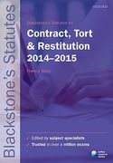 Cover of Blackstone's Statutes On Contract, Tort & Restitution 2014 - 2015