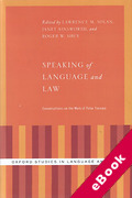 Cover of Speaking of Language and Law: Conversations on the Work of Peter Tiersma (eBook)