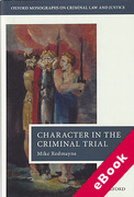 Cover of Character in the Criminal Trial (eBook)