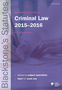 Cover of Blackstone's Statutes on Criminal Law 2015 - 2016