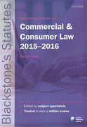 Cover of Blackstone's Statutes on Commercial & Consumer Law 2015 - 2016