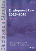Cover of Blackstone's Statutes on Employment Law 2015 - 2016