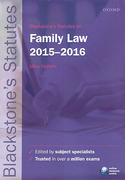 Cover of Blackstone's Statutes on Family Law 2015 - 2016