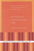 Cover of Speaking of Language and Law: Conversations on the Work of Peter Tiersma