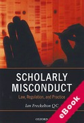 Cover of Scholarly Misconduct: Law, Regulation and Practice (eBook)