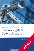 Cover of Blackstone's Guide to the Investigatory Powers Act 2016 (eBook)