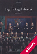 Cover of An Introduction to English Legal History (eBook)