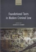 Cover of Foundational Texts in Modern Criminal Law: Contemporary Readings of Classic Texts