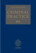 Cover of Blackstone's Criminal Practice 2021 (with Supplement 1 only)