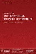 Cover of Journal of International Dispute Settlement: Print + Online