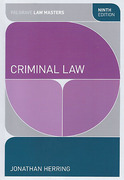 Cover of Palgrave Law Masters: Criminal Law