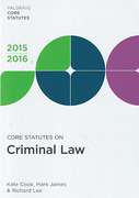 Cover of Core Statutes on Criminal Law 2015-2016
