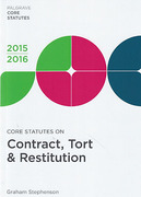Cover of Core Statutes on Contract, Tort & Restitution 2015-2016