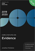 Cover of Core Statutes on Evidence 2019-20