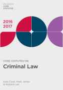 Cover of Core Statutes on Criminal Law 2016-2017