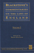 Cover of Blackstone's Commentaries on the Laws of England in 4 Volumes