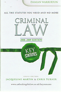 Cover of Key Statutes: Criminal Law 2008-2009
