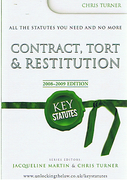 Cover of Key Statutes: Contract, Tort & Restitution 2008-2009