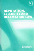 Cover of Reputation, Celebrity and Defamation Law