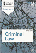 Cover of Routledge Lawcards: Criminal Law 2012-2013