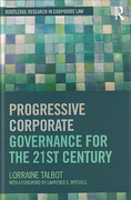 Cover of Progressive Comparative Corporate Governance for the 21st Century