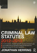 Cover of Routledge Student Statutes: Criminal Law Statutes 2012 - 2013