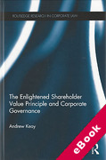 Cover of The Enlightened Shareholder Value Principle and Corporate Governance (eBook)