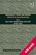 Cover of Transparency, Power, and Control: Perspectives on Legal Communication (eBook)