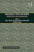 Cover of Transparency, Power, and Control: Perspectives on Legal Communication
