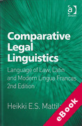 Cover of Comparative Legal Linguistics: Language of Law, Latin and Modern Lingua Francas (eBook)