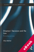 Cover of Directors' Decisions and the Law: Promoting Success (eBook)