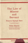 Cover of The Law of Master and Servant 5th ed