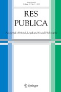 Cover of Res Publica: A Journal of Moral, Legal and Social Philosophy - Print + Basic Online