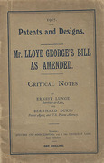 Cover of 1907 Patents and Designs. Mr. Lloyd George's Bill as Ammended: Critical Notes